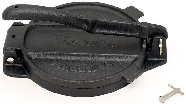 Victoria 6.5 Inch cast iron tortilla press with detachable lever